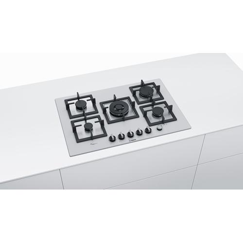 כיריים גז 5 להבות זכוכית לבנה Bosch PPQ7A2M20Y