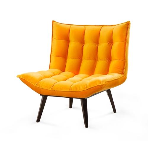כורסא והדום בבד קטיפתי LEONARDO דגם לילי כתום