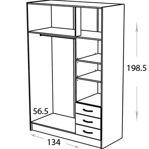 ארון 3 דלתות ותאי אחסון + שידת מגירות חיצונית