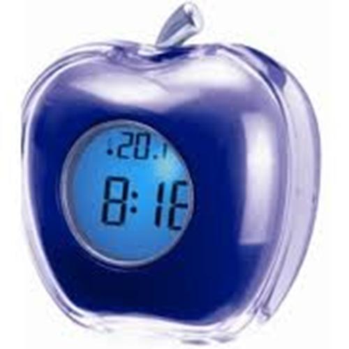 שעון מעורר בעיצוב תפוח מקריא את השעה ומודד טמפ'