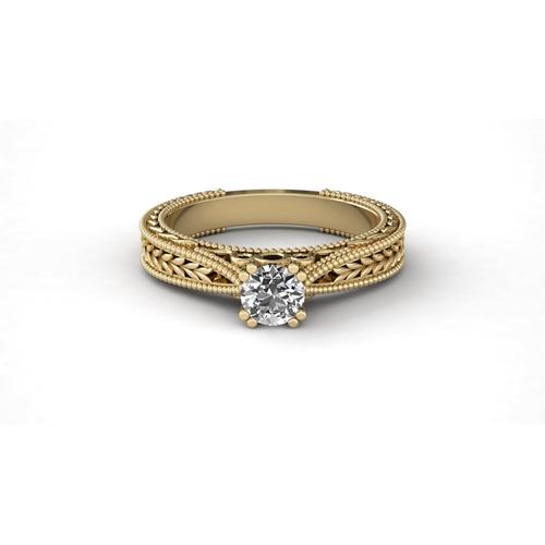 טבעת אירוסין וינטאג' זהב 14K משובצת יהלום