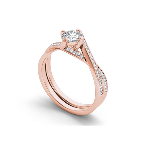 טבעת אירוסין טוויסט זהב 14K משובצת יהלומים
