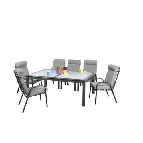 סט שולחן מתארך מזכוכית עם 6 כיסאות דגם Nevada
