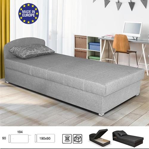 מיטת יחיד עם ראש מתכוונן וארגז מצעים תוצרת אירופה