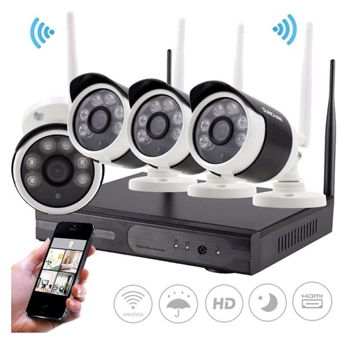 מערכת אבטחה אלחוטית מושלמת + 4 מצלמות אלחוטיות
