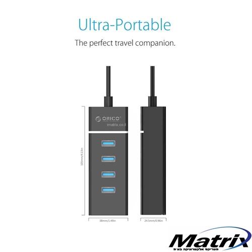 מפצל USB איכותי בתקן USB3.0 עם 4 כניסות