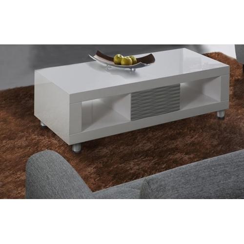 שולחן לסלון בגימור אפוקסי לבן עם אפור LEONARDO