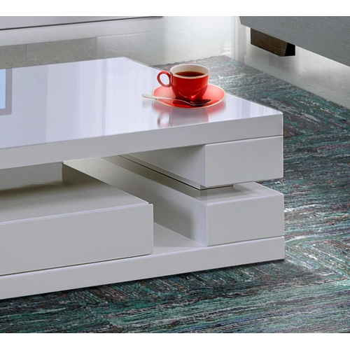 שולחן לסלון עם מגירה בצבע לבן בגימור אפוקסי