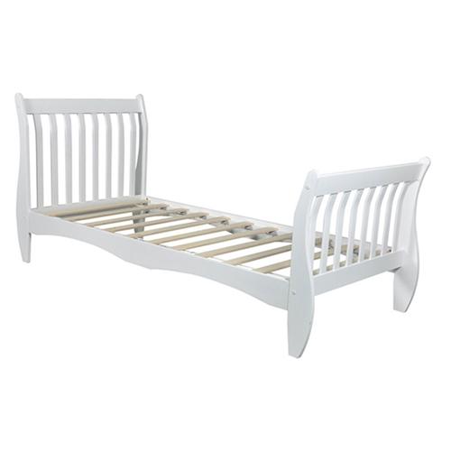 """מיטה מעוצבת 90*190 ס""""מ מעץ מלא לילדים ונוער דגם  KODA לבן"""