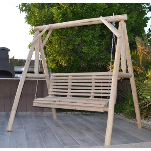 נדנדת עץ מאסיבית לגינה 3 מושבים דגם שחף