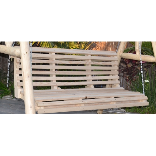 ספסל נדנדה עץ כפרי לגינה 3 מושבים דגם אור