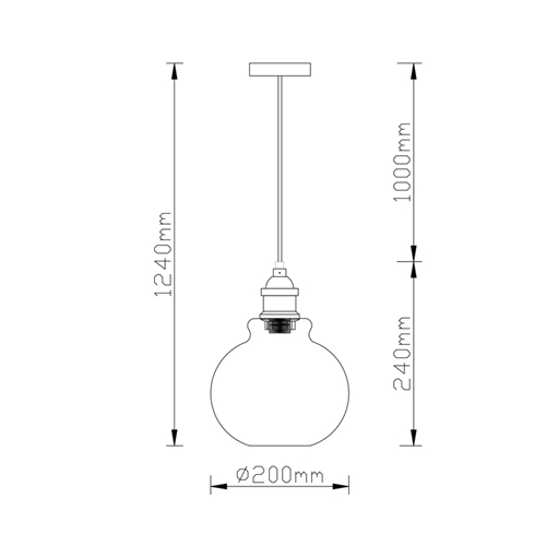 מנורת תליה מעוצבת המשלבת זכוכית ומתכת ביתילי