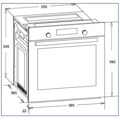 תנור אפייה בנוי שחור בנפח 78 ליטר דגם OV-V-785