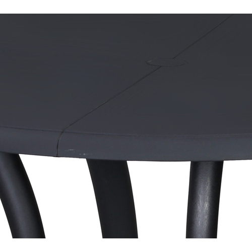שולחן אוכל עשוי מפלסטיק עגול בצבע שחור ביתילי