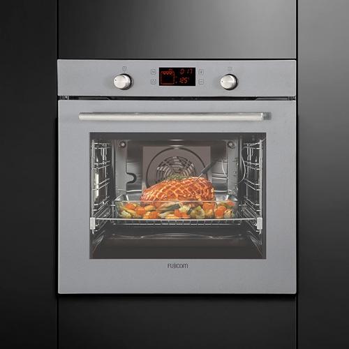 תנור בנוי בגימור זכוכית אפורה טורבו אקטיבי FUJICOM