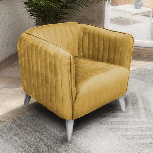 כורסא מעוצבת בריפוד בד קטיפה HOME DECOR דגם בריסל