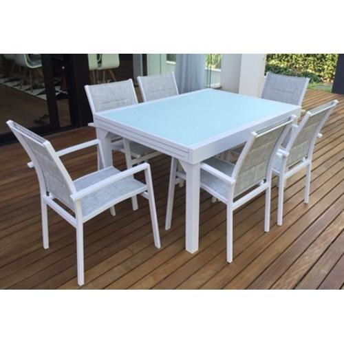 שולחן אלומיניום נפתח לחצר/גן כולל 4 כיסאות מרופדים