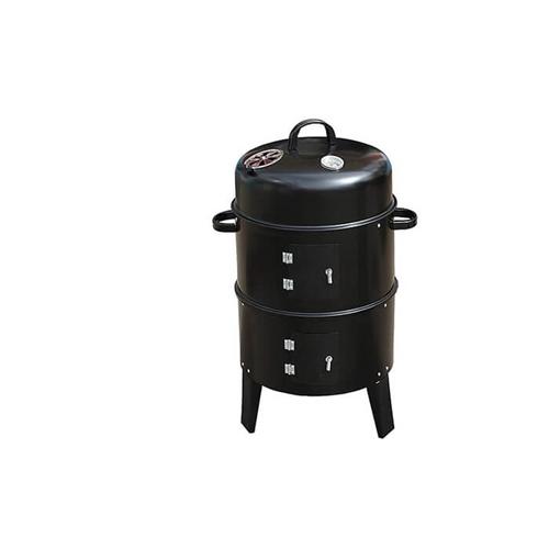 מעשנת פחמים ביתית עגולה עם 2 קומות לצלייה ועישון