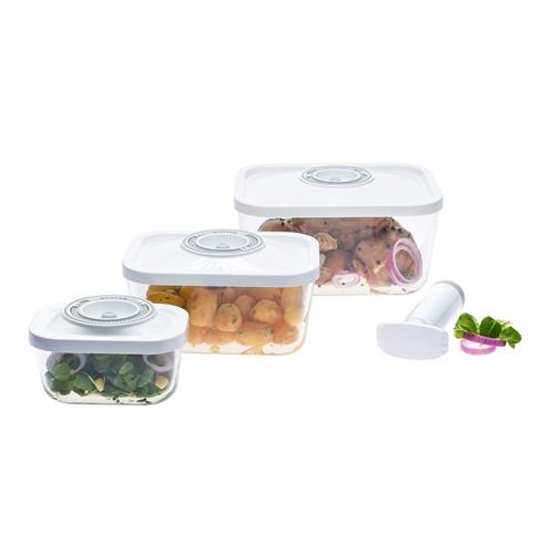 סט 3 קופסאות אחסון מזון מזכוכית בוואקום STATUS
