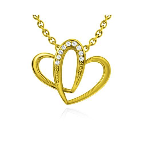 תליון לבבות מחוברים זהב ויהלומים