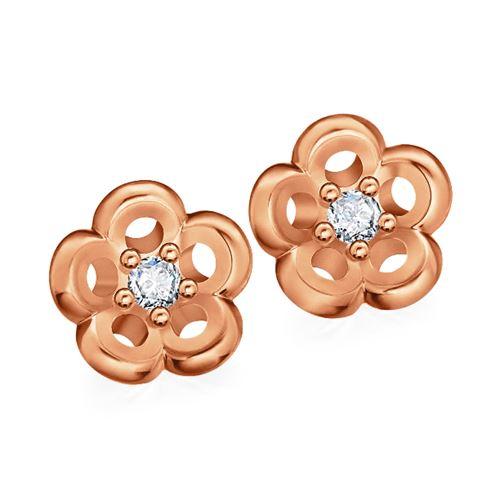 עגילי זהב פרחים עם יהלום
