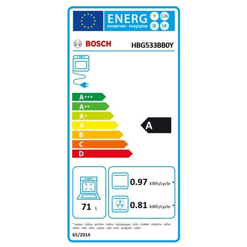 תנור בנוי 71 ליטר שחור תוצרת Bosch דגם HBG533BB0Y