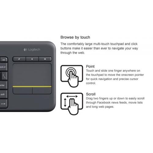 מקלדת אלחוטית משולבת משטח מגע Logitech K400 Plus