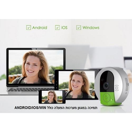 אינטרקום אלחוטי WIFI IP משולב מצלמה צפייה הקלטה