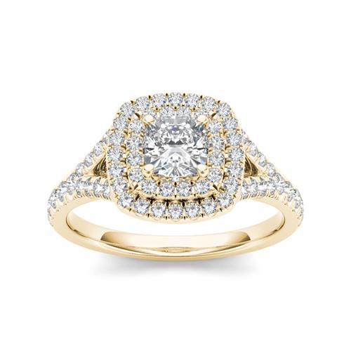 טבעת אירוסין שתי שורות זהב 14K משובצת יהלומים