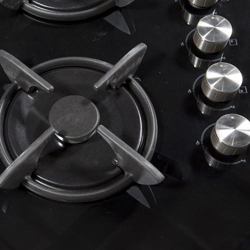 """כיריים גז 60 ס""""מ זכוכית שחורה עם מבער טורבו"""