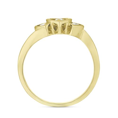 טבעת זהב 14K משובץ 3 יהלומים
