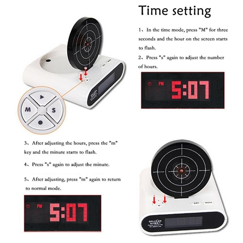 שעון מעורר בעיצוב לוח קליעה למטרה ואקדח לייזר