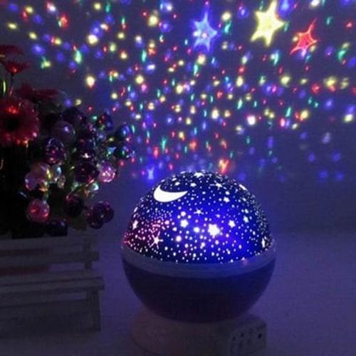 מנורת לילה לילדים מקרינה כוכבים וירח באפקטים שונים