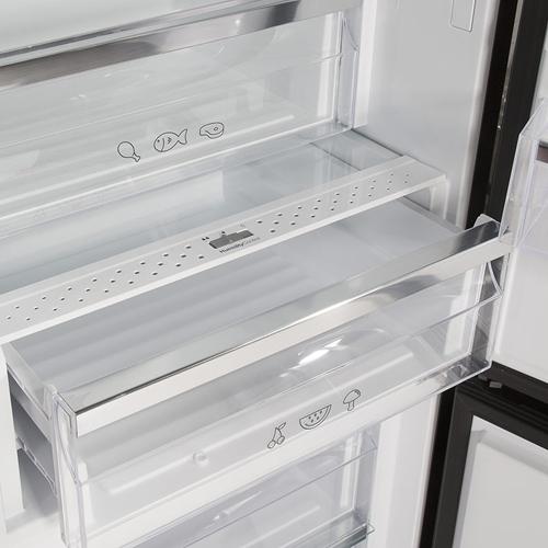 מקרר מקפיא תחתון NO FROST זכוכית שחורה Fujicom
