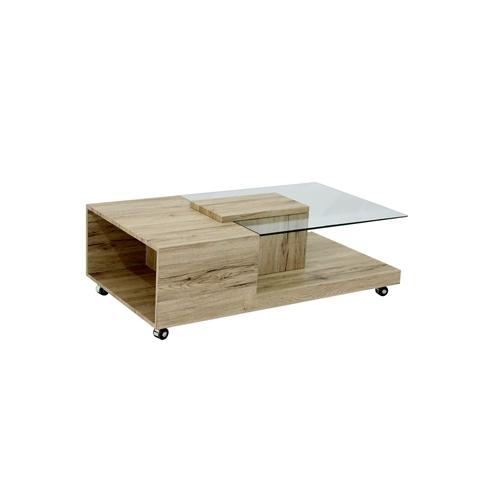 שולחן קפה עץ בשילוב זכוכית דגם 1356