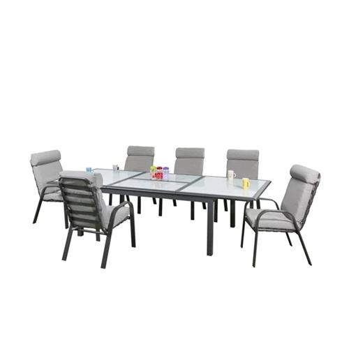 סט שולחן יוקרתי מתארך מזכוכית לבנה עם 6 כיסאות