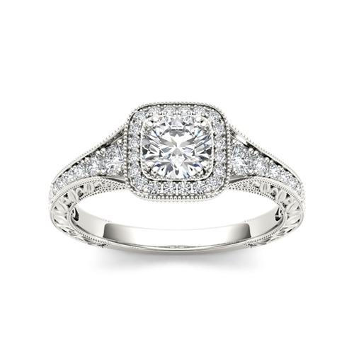 טבעת אירוסין חריטות זהב 14K משובצת יהלומים