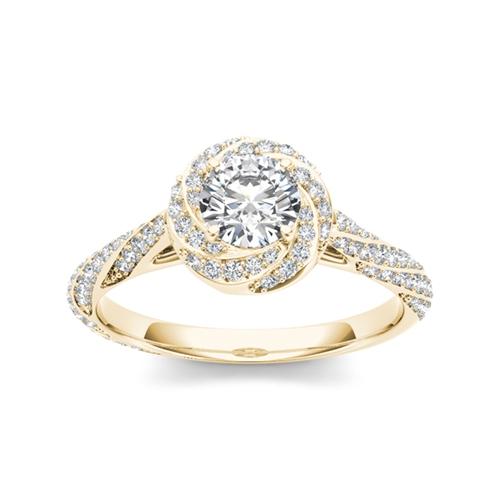 טבעת אירוסין מעוצבת זהב 14K משובצת יהלומים