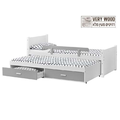 מיטת ילדים נפתחת מעץ מלא עם מיטת חבר נשלפת