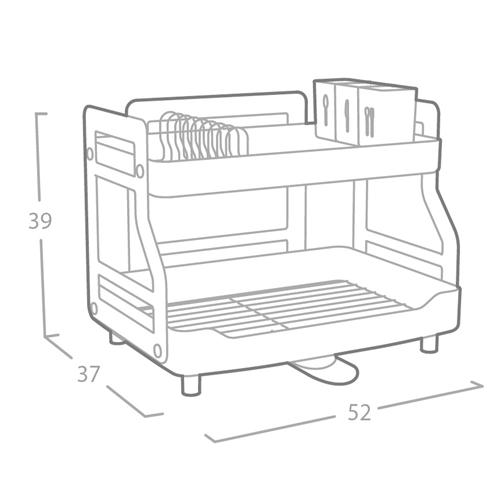 מתקן לייבוש כלים 2 קומות עם ניקוז מתכוונן OLIVIER