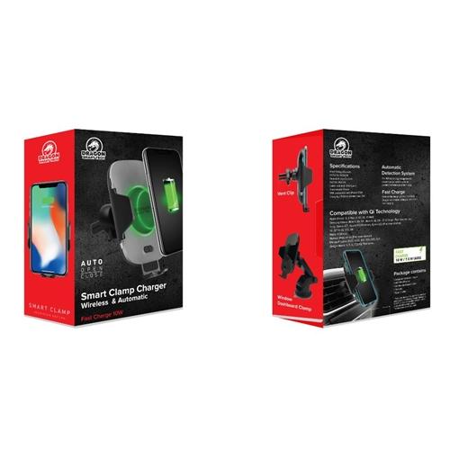 זרוע לסמארטפון + טעינה אלחוטית  DRAGON SMART CLAMP