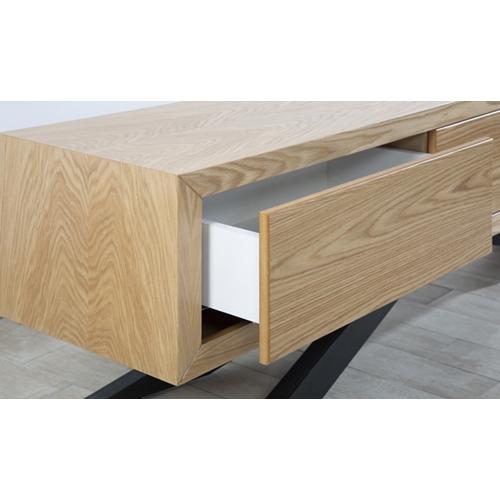 סט מזנון ושולחן בשילוב MDF מצופה פורניר דגם אורן
