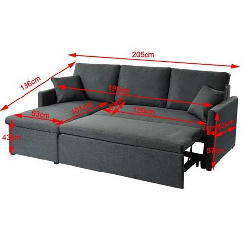 מערכת ישיבה פינתית מרופדת בד קטיפה ונפתחת למיטה