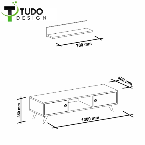מזנון מעוצב עם מדף תואם Tudo Design ASPEN WHITE