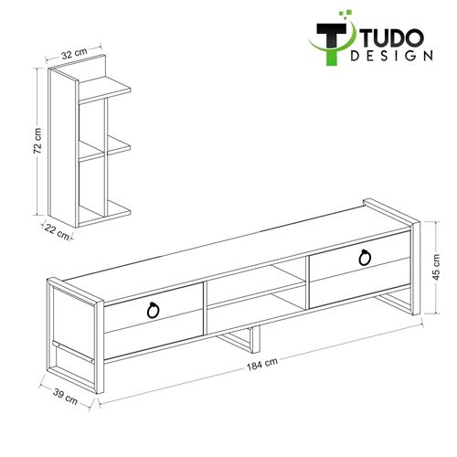 """מזנון מעוצב 184 ס""""מ עם מעמד מדפים Tudo Design Sena"""