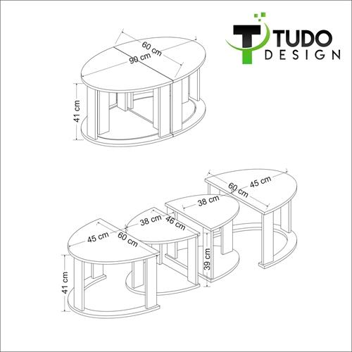 שולחן סלון נפתח ל 4 שולחנות Tudo Design ANTELLA