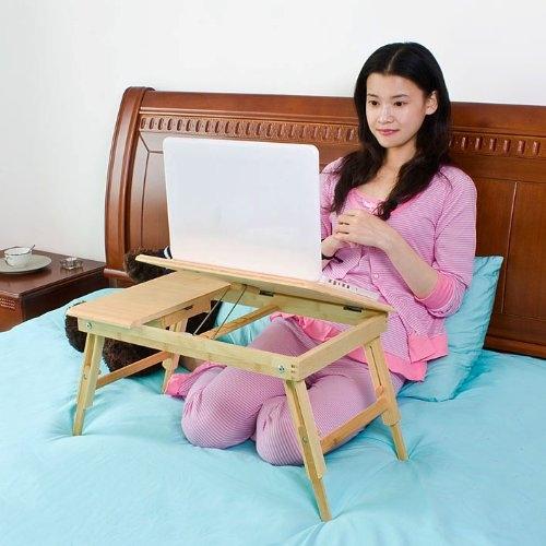 שולחן עץ במבוק למחשב נייד מתקפל