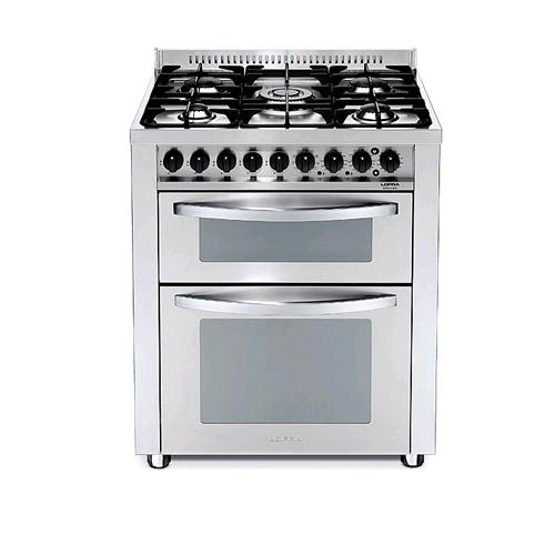 """תנור אפייה דו תאי משולב כיריים גז 5 להבות 70 ס""""מ"""