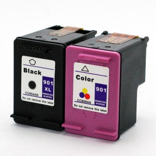 זוג ראשי דיו תואם HP 901XL שחור וצבעוני