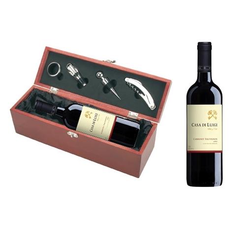 מארז יוקרתי כולל יין +פותחן+ טבעת + פקק + משפך
